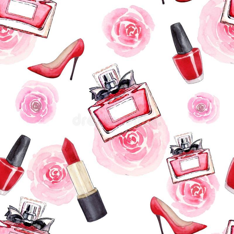 Accessoires de charme Mode Modèle sans couture d'aquarelle avec les chaussures des femmes, le rouge à lèvres, le parfum, les fleu illustration libre de droits