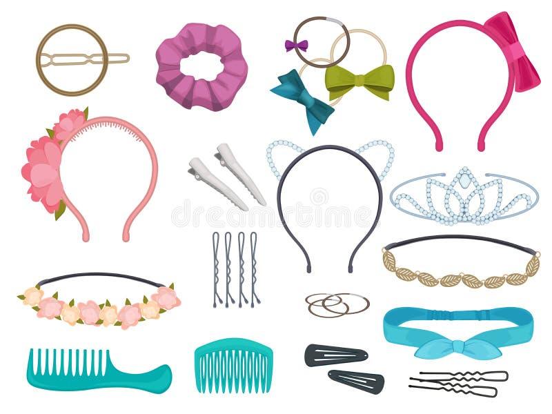 Accessoires de cheveux Les bandes élastiques de fleurs de salon de styliste d'articles de cheveux de femme cintre des cercles pou illustration stock