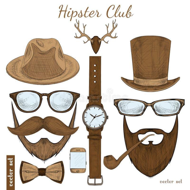 Accessoires de club de hippie de vintage illustration de vecteur
