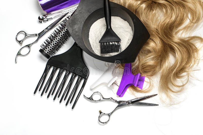 Accessoires de coiffeur pour les cheveux de coloration photographie stock libre de droits