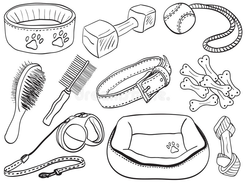 Accessoires de crabot - illustration de matériel d'animal familier illustration libre de droits