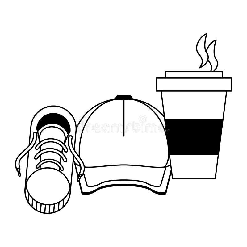 Accessoires de hippie pour l'été en noir et blanc illustration stock