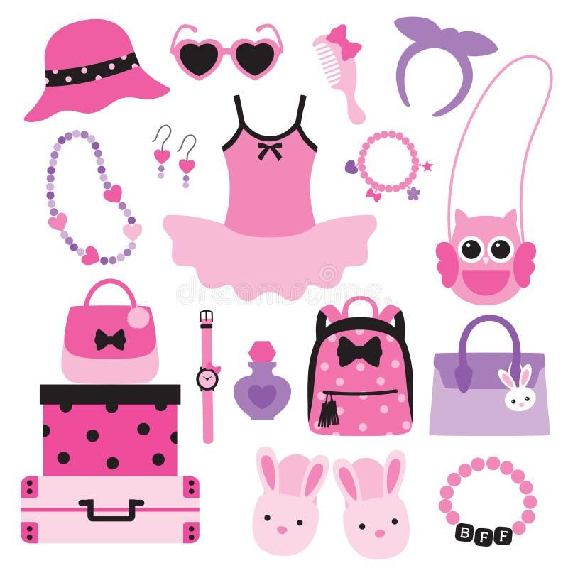 Accessoires de mode d'enfant de fille illustration stock