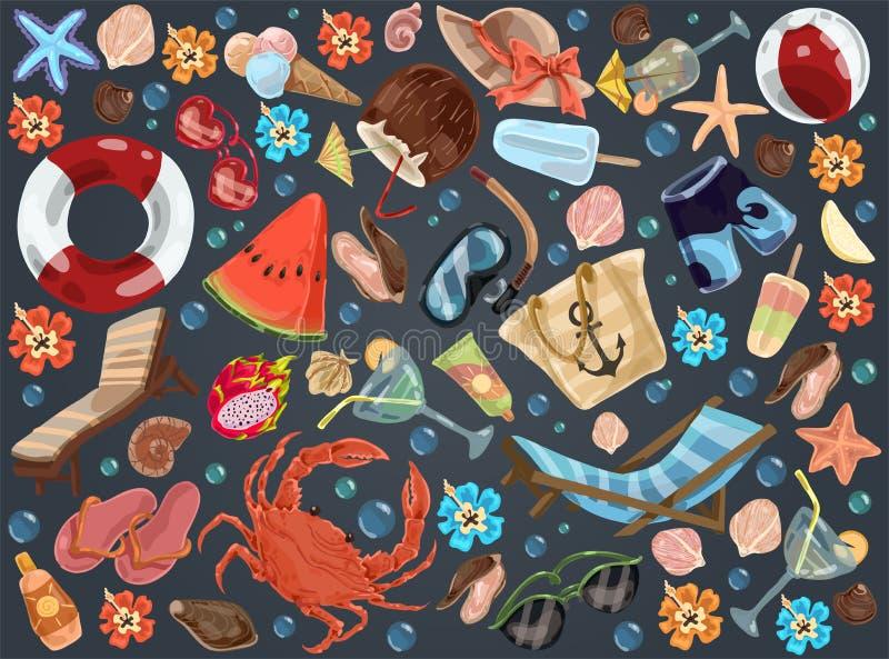 Accessoires de repos d'été, salon de cabriolet, pastèque, crème de bronzage, masque de plongée, cocktails tropicaux, ensemble de  illustration libre de droits