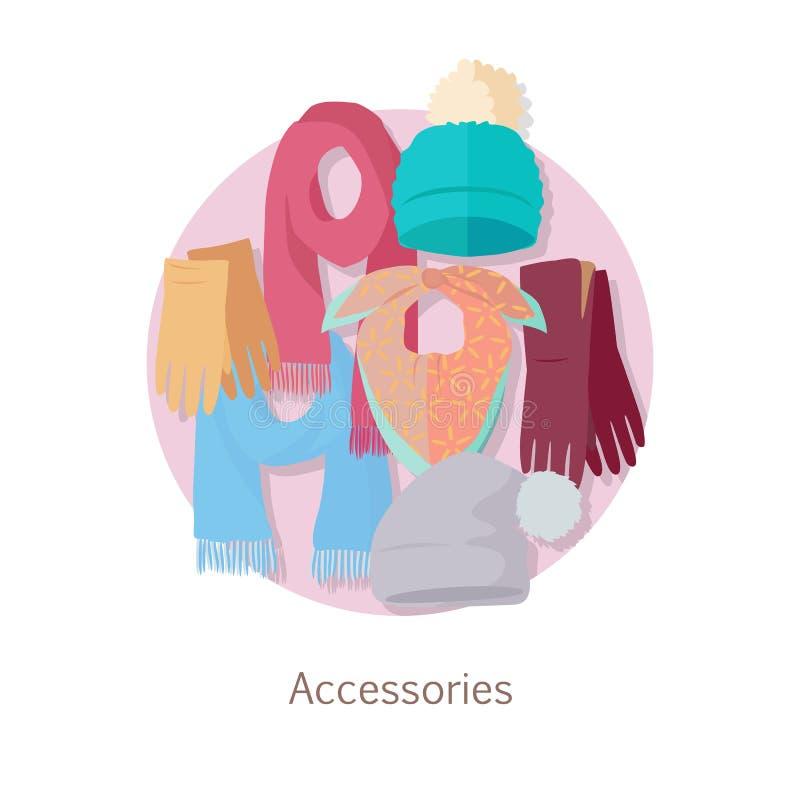 Accessoires des hommes s Sacs, chaussures, chapeaux et écharpes illustration stock