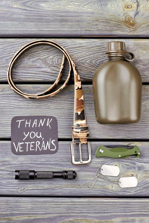 Accessoires du ` s de vétéran de soldat d'armée images libres de droits