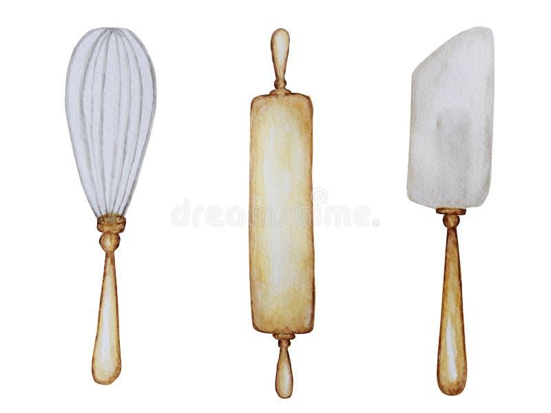 Accessoires en bois tirés par la main de cuisine réglés pour l'illustration de cuisson d'aquarelle, d'isolement sur le fond blanc illustration de vecteur