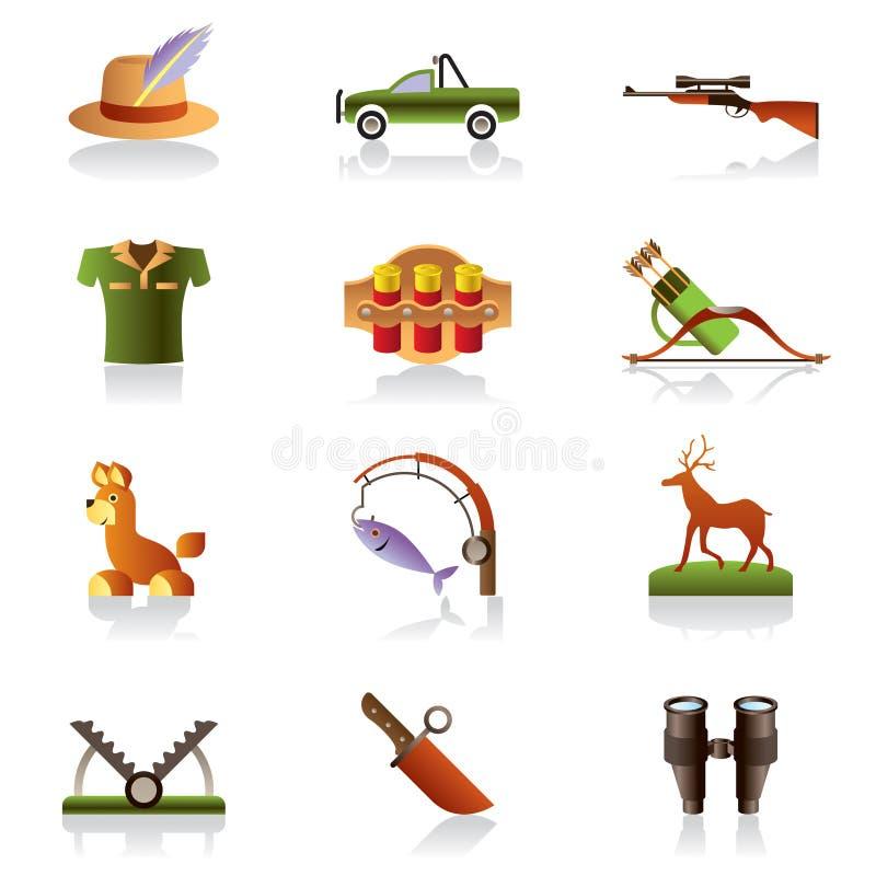 Accessoires et symboles de chasseur illustration de vecteur
