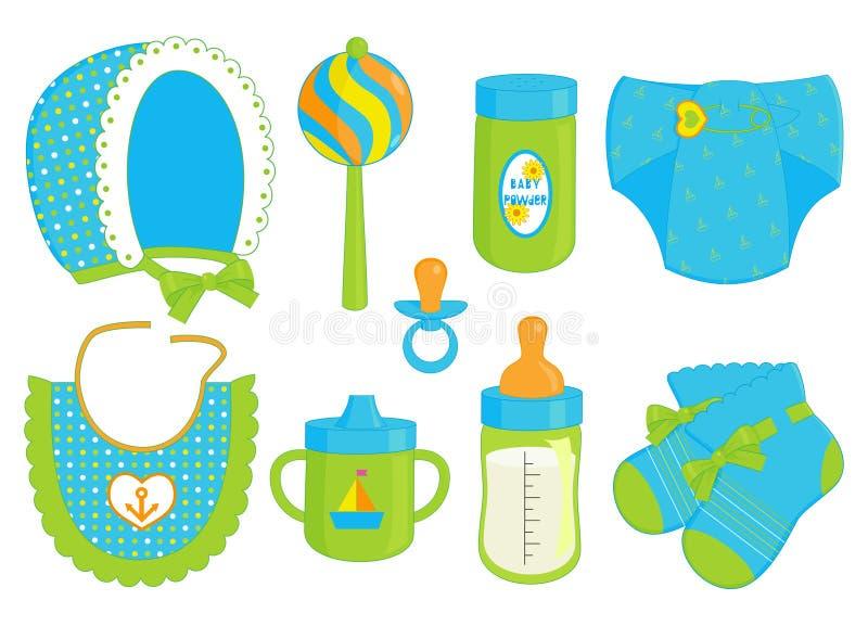 Accessoires pour le bébé illustration stock