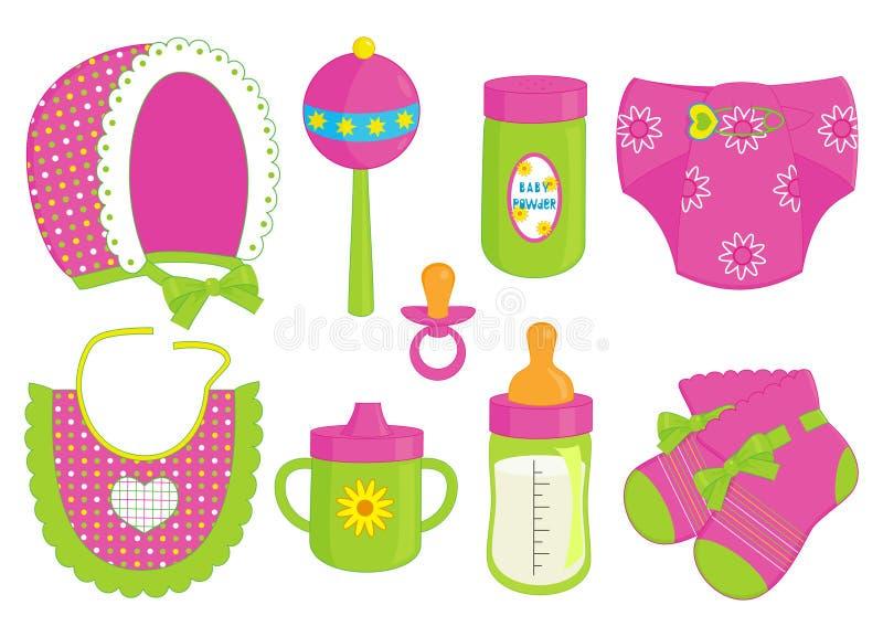Accessoires pour le bébé illustration de vecteur