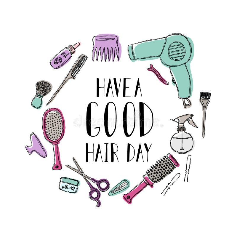 Accessoires pour le coiffeur s La citation de motivation ont une bonne journée de cheveux illustration de vecteur