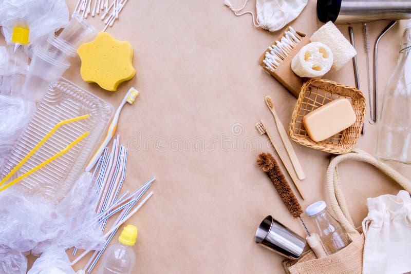 Accessoires réutilisables recyclables de bain contre le plastique Concept de rebut z?ro photo libre de droits