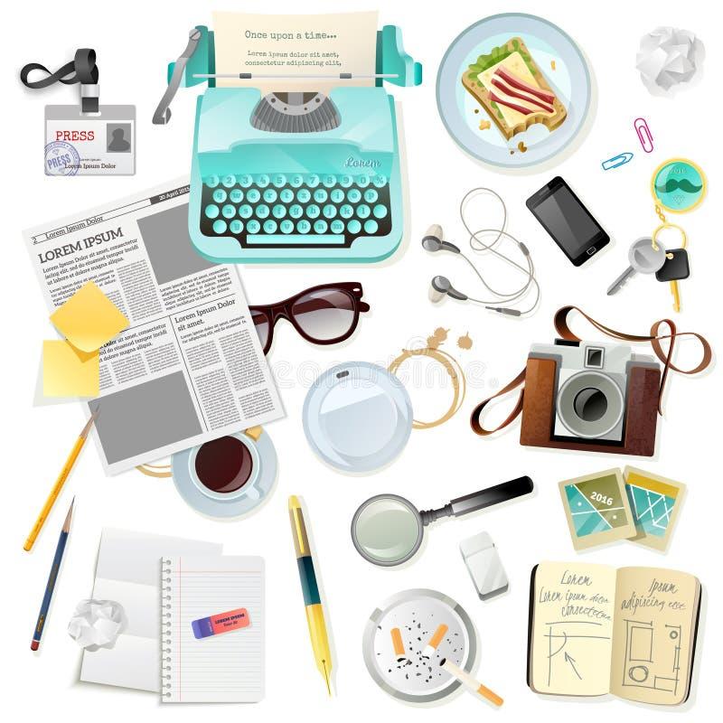 Accessori d'annata per lo scrittore Typewriter del giornalista royalty illustrazione gratis