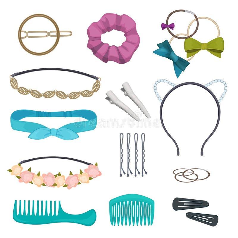 Accessori dei capelli L'elemento alla moda dei capelli della donna taglia i bandanas che dei fiori i bavagli piega il fumetto di  illustrazione di stock