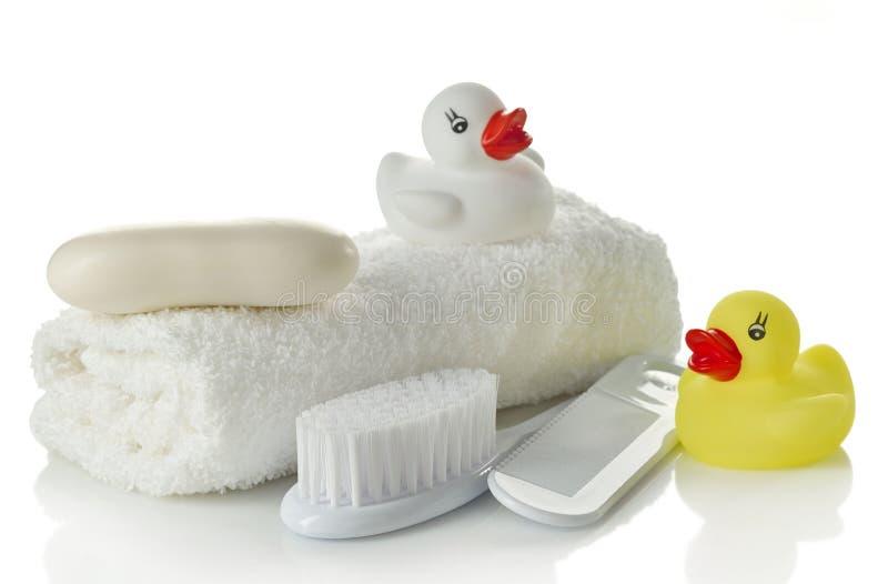 Accessori del bagno del bambino fotografia stock