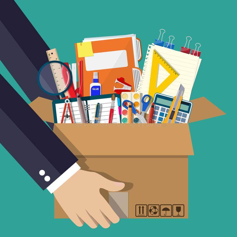 Accessori dell'ufficio in scatola di cartone a disposizione royalty illustrazione gratis