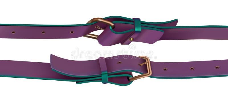 Accessori della merceria Cinghie con colore porpora del fermaglio Vista laterale illustrazione vettoriale