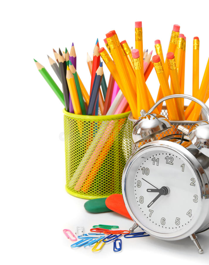Accessori della scuola e della sveglia immagini stock