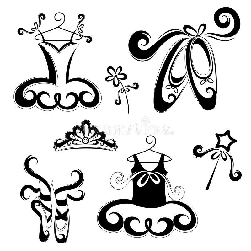 Accessori di balletto royalty illustrazione gratis