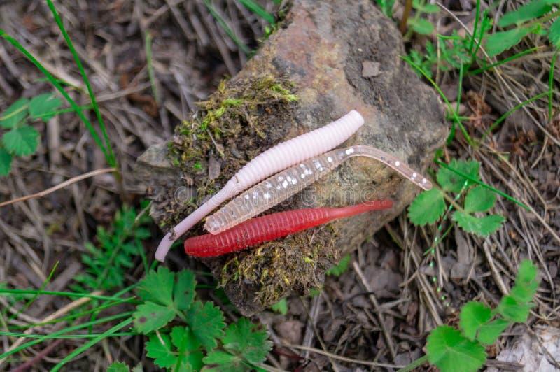 Accessori di pesca Bagattelle e richiami che si trovano su una pietra con un fondo della foresta immagini stock