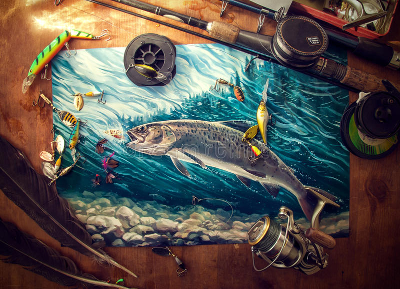 Accessori di pesca sulla tavola illustrazione di stock