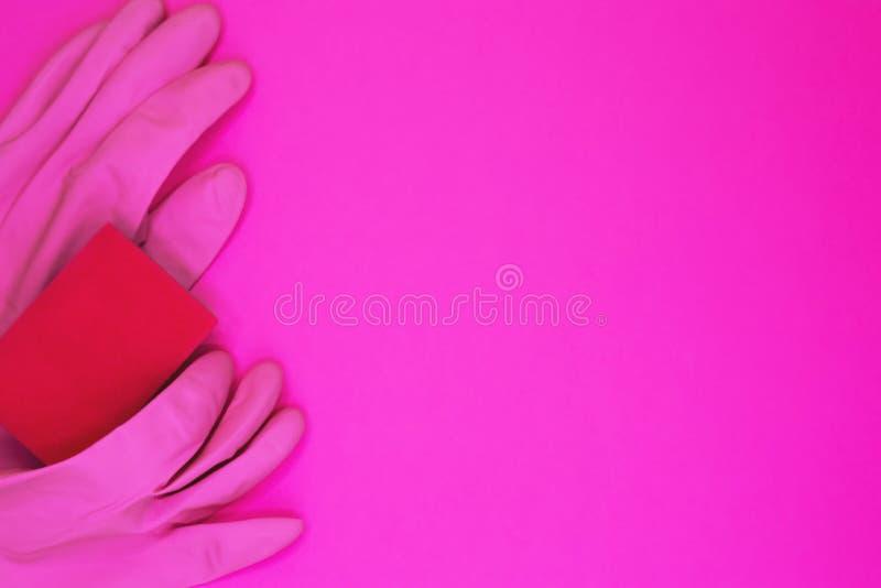 Accessori di pulizia nel colore rosa Servizio di pulizia, idea di piccola impresa fotografia stock libera da diritti