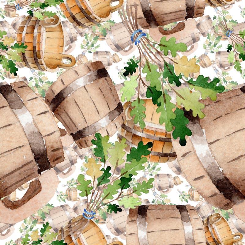 Accessori di sauna e dell'illustrazione della stazione termale Modello senza cuciture del fondo immagini stock