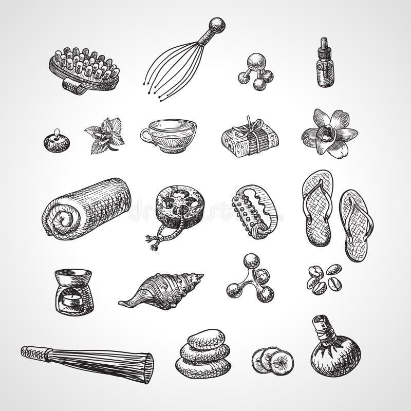 Accessori di vettore di massaggio e della STAZIONE TERMALE messi Insieme disegnato a mano dell'icona di benessere, stile di schiz illustrazione vettoriale