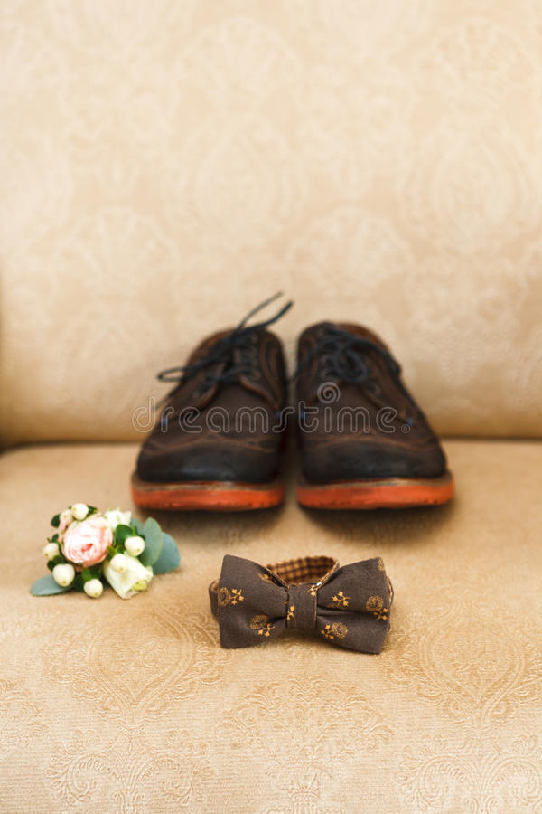 Accessori maschii di nozze, dettagli dell'abbigliamento fotografie stock libere da diritti