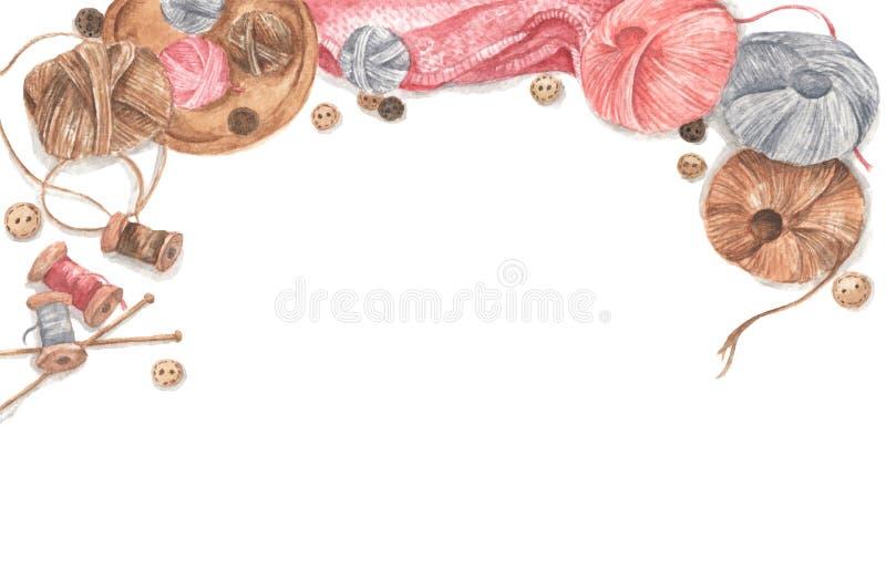 Accessori per cucire e per la lavorazione degli aghi Copia spazio Layout piatto, vista superiore Disegno Watercolor fotografia stock libera da diritti