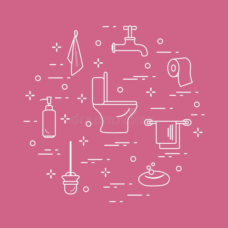 Accessori per le stanze ed il bagno della toilette illustrazione vettoriale
