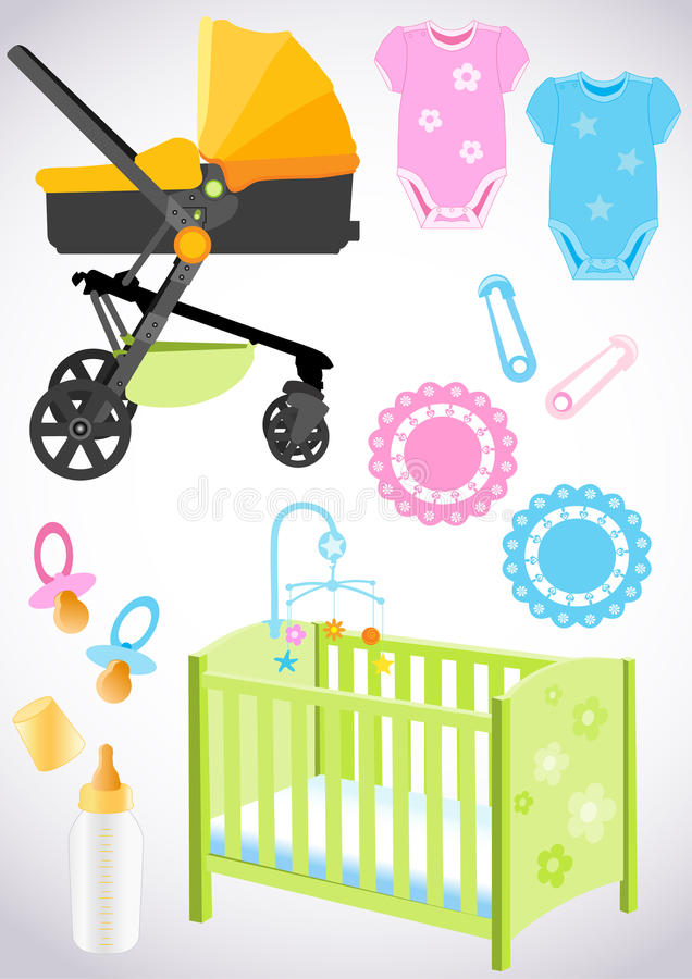 Accessories for the baby royalty free illustration
