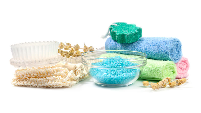 Accessories for the bath. Sponge, brush, towels, bath salts, dry grass. On a white background royalty free stock images