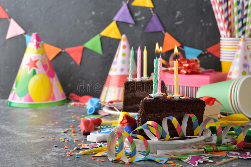 Accessories for children`s parties. On a gray background royalty free stock photos