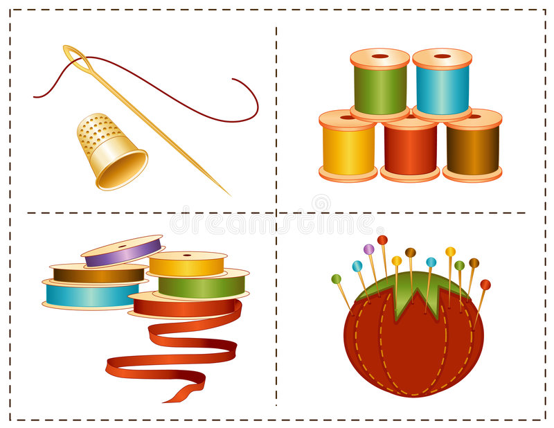 accessories colors earth sewing иллюстрация штока