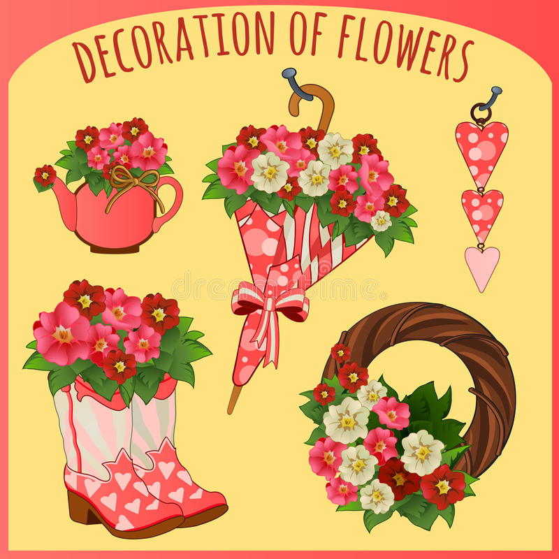 Accessories and decorative objects with flowers stock illustration