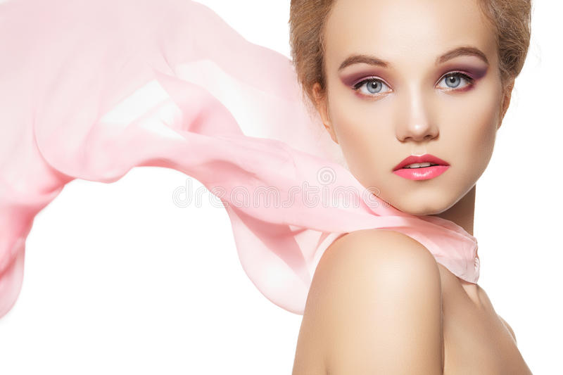 Accessories. Fashion Girl With Silk Scarf, Make-up Stock Photos
