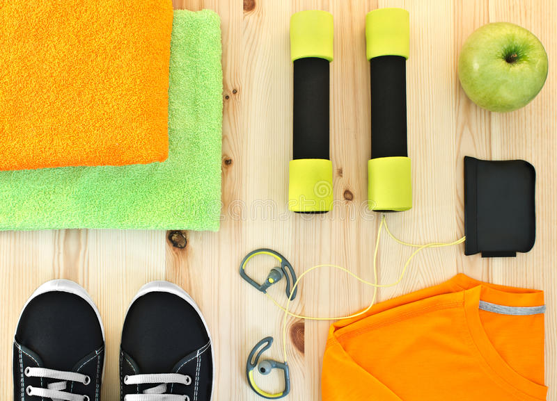 Accessories for fitness classes. royalty free stock photo