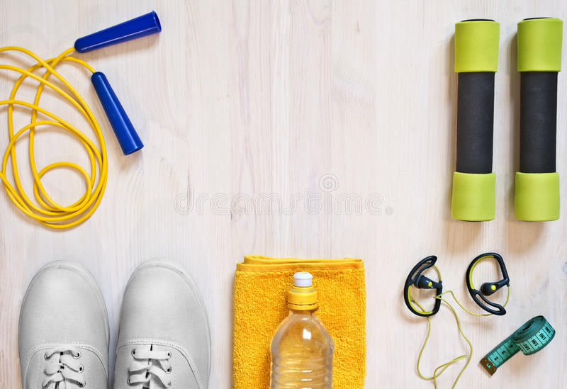 Accessories for fitness classes. stock image