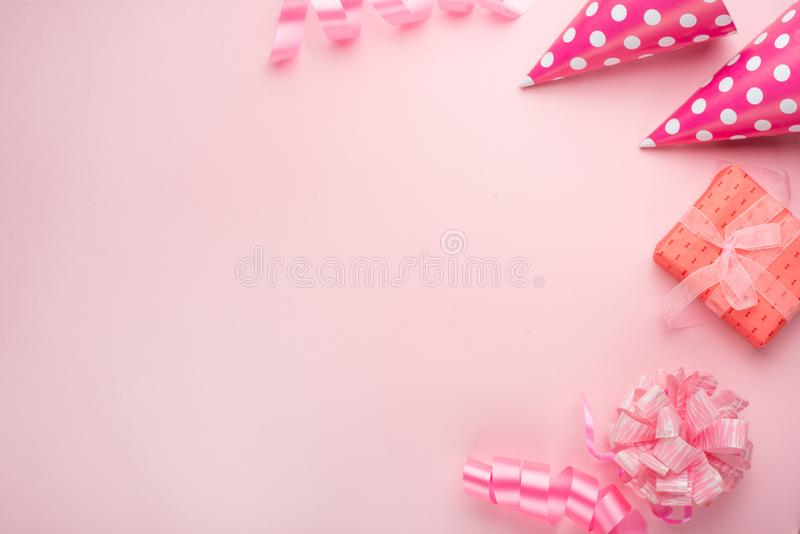 Accessories for girls on a pink background. Invitation, birthday, girlhood party, baby shower concept, celebration. Banner for let royalty free stock image