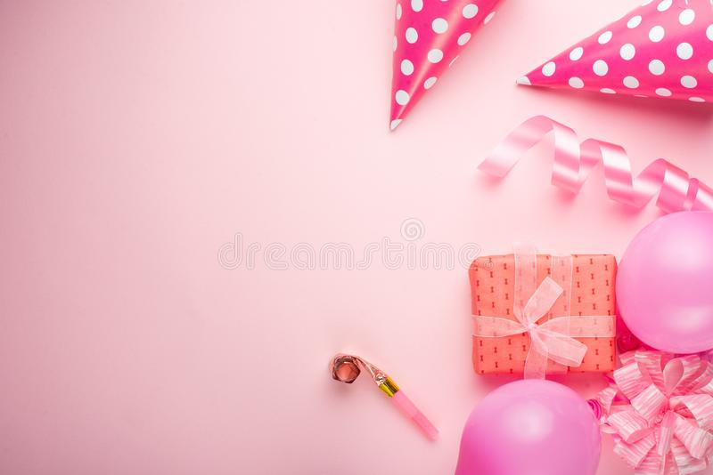 Accessories for girls on a pink background. Invitation, birthday, girlhood party, baby shower concept, celebration. Banner for let royalty free stock images