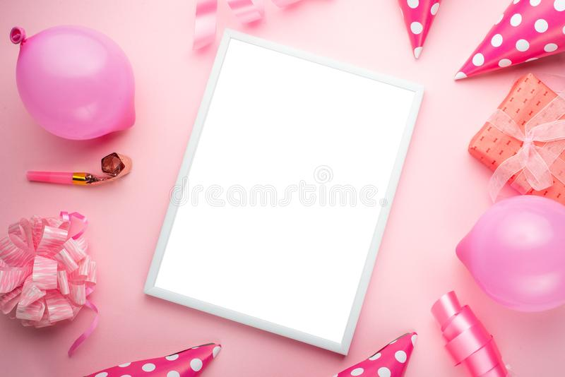 Accessories for girls on a pink background. Invitation, birthday, girlhood party, baby shower concept, celebration. With frame for stock image