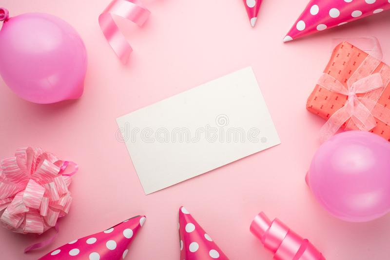 Accessories for girls on a pink background. Invitation, birthday, girlhood party, baby shower concept, celebration. With frame for. Design stock photos
