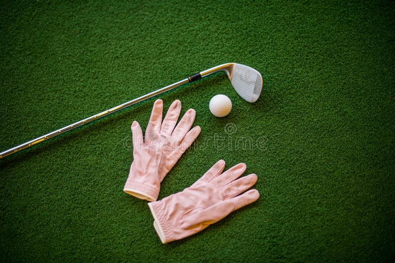 Accessories golf sport in Golf course driving range royalty free stock photography