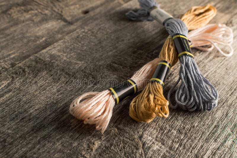 Accessories for hobbies: different colors of thread for embroidery.  royalty free stock images