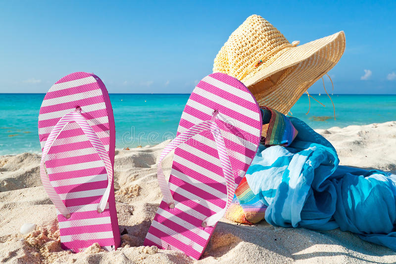 Accessories for holidays on Caribbean beach stock image