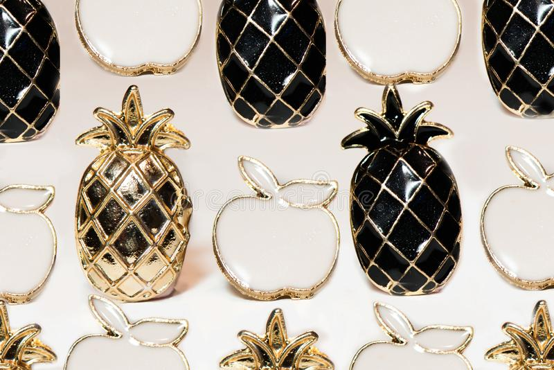Accessories icons in the form of pineapple and apple stock images
