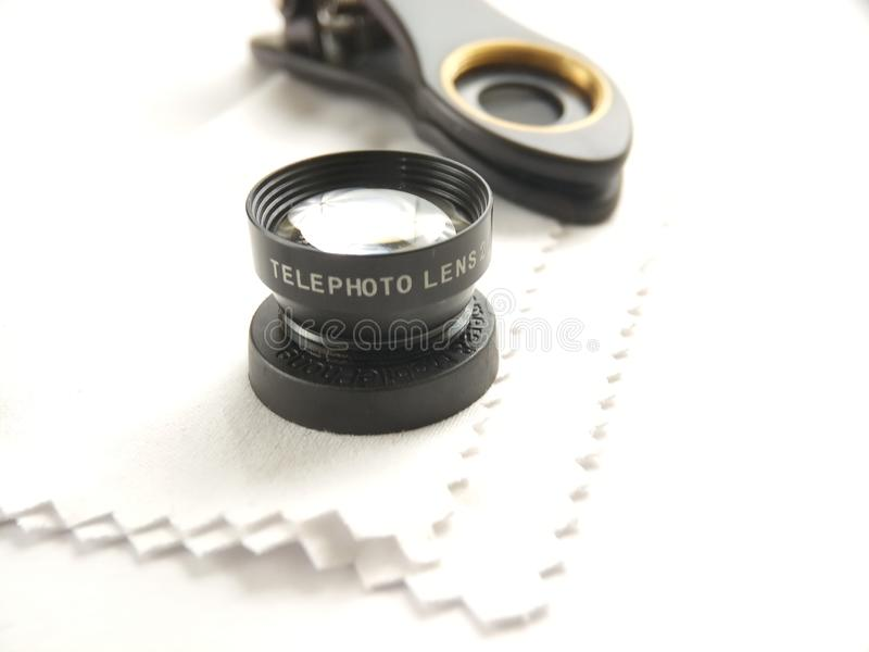 Close Up Accessories for Mobile Phone Photography, Tele Lens stock photo