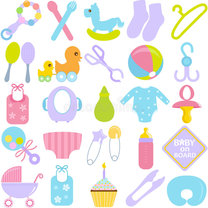 Download Accessories For Mom And Baby In Pastel Stock Vector - Illustration: 27545053