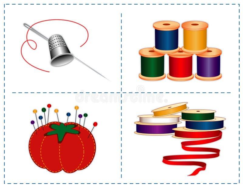 Accessories Needle Sewing Silver Thimble Стоковые Изображения